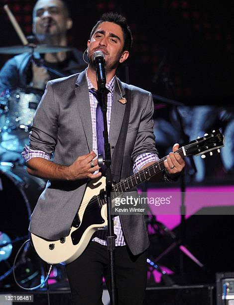 Musician Alex Ubago of Alex Jorge y Lena performs onstage during the 12th annual Latin GRAMMY Awards at the Mandalay Bay Events Center on November 10...