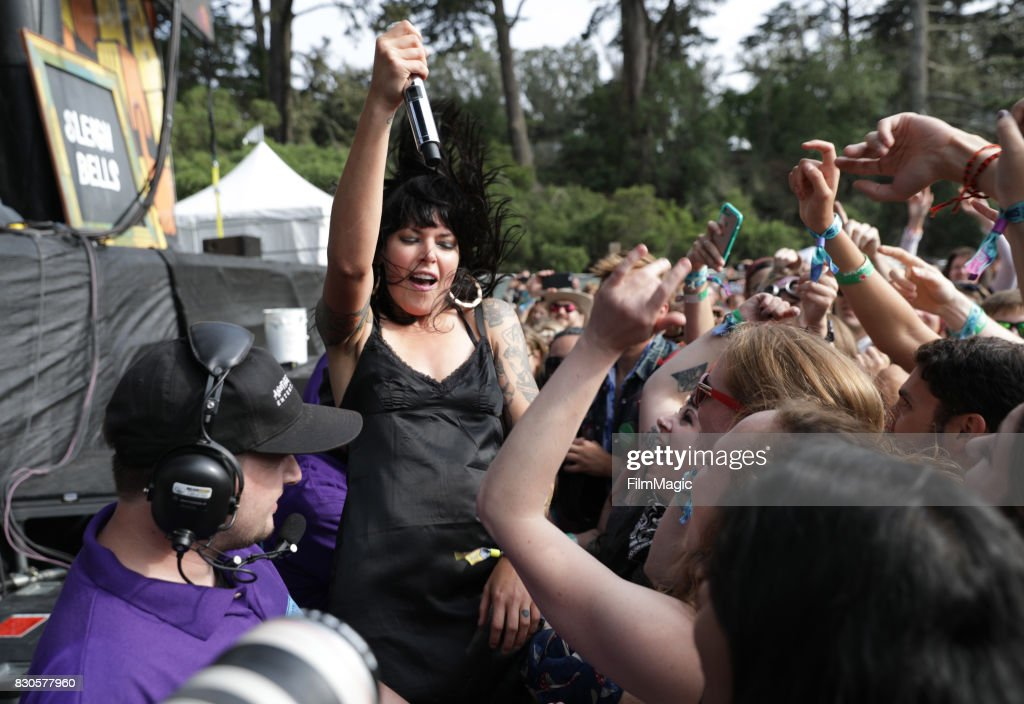 Musician Alexis Krauss of Sleigh Bells performs on the Twin Peaks Stage during the 2017 Outside Lands Music And Arts Festival at Golden Gate Park on August 11, 2017 in San Francisco, California.
