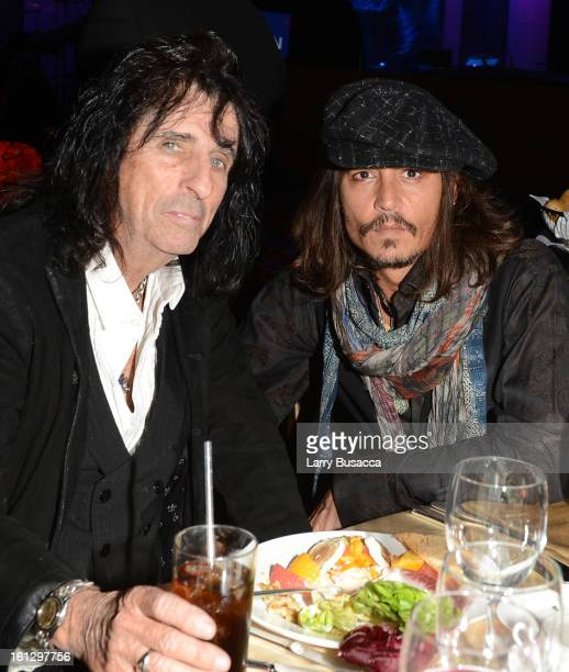 Musician Alice Cooper and actor Johnny Depp attend the 55th Annual GRAMMY Awards PreGRAMMY Gala and Salute to Industry Icons honoring LA Reid held at...