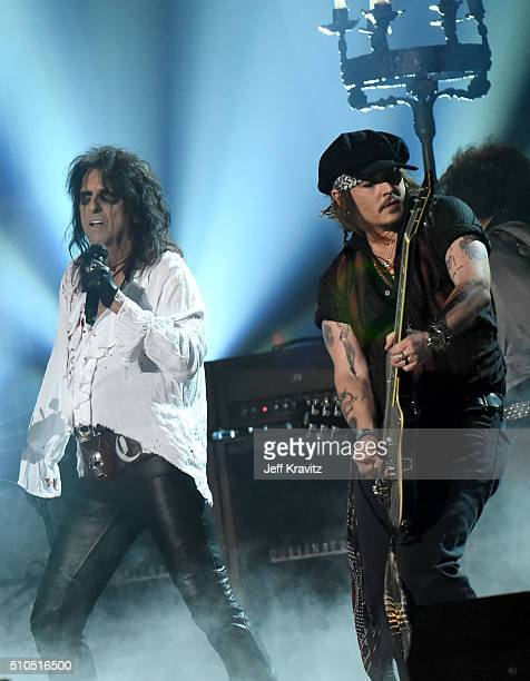 Musician Alice Cooper and Actor/Musician Johnny Depp of Hollywood Vampires perform onstage during The 58th GRAMMY Awards at Staples Center on...