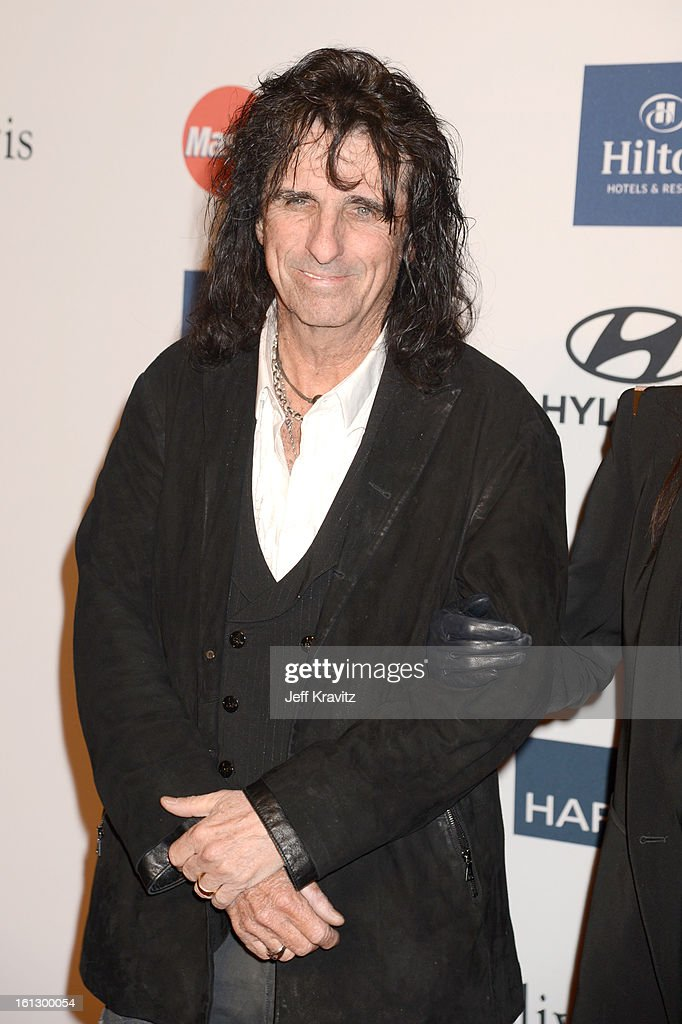 Musician <a gi-track='captionPersonalityLinkClicked' href=/galleries/search?phrase=Alice+Cooper&family=editorial&specificpeople=202989 ng-click='$event.stopPropagation()'>Alice Cooper</a> arrives at Clive Davis and The Recording Academy's 2013 GRAMMY Salute to Industry Icons Gala held at The Beverly Hilton Hotel on February 9, 2013 in Beverly Hills, California.