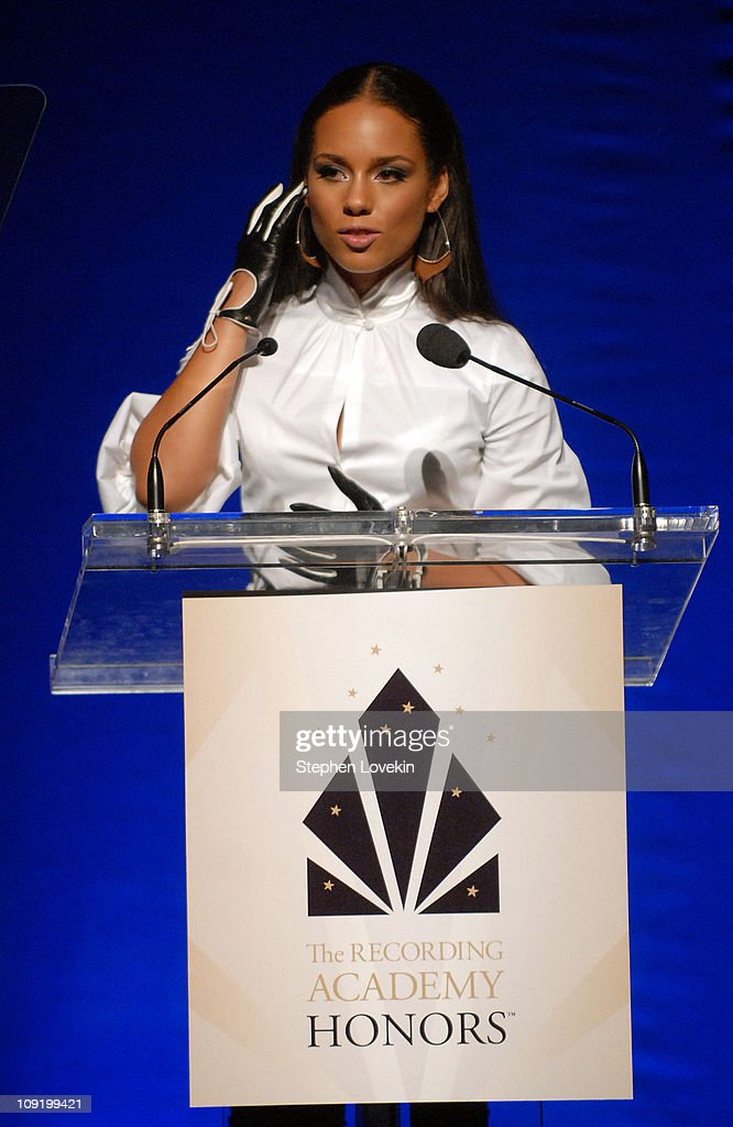 Musician Alicia Keys accepts her award during the Recording Academy New York Chapter's Tribute to Bon Jovi Alicia Keys Donnie McClurkin and the...