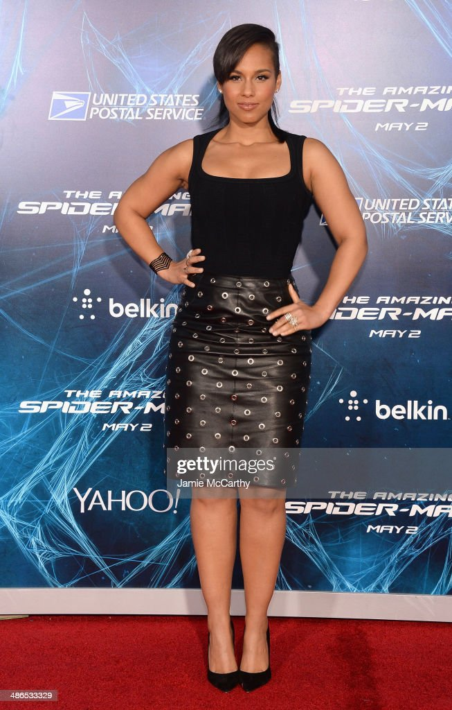 Musician <a gi-track='captionPersonalityLinkClicked' href=/galleries/search?phrase=Alicia+Keys&family=editorial&specificpeople=169877 ng-click='$event.stopPropagation()'>Alicia Keys</a> attends 'The Amazing Spider-Man 2' premiere at the Ziegfeld Theater on April 24, 2014 in New York City.