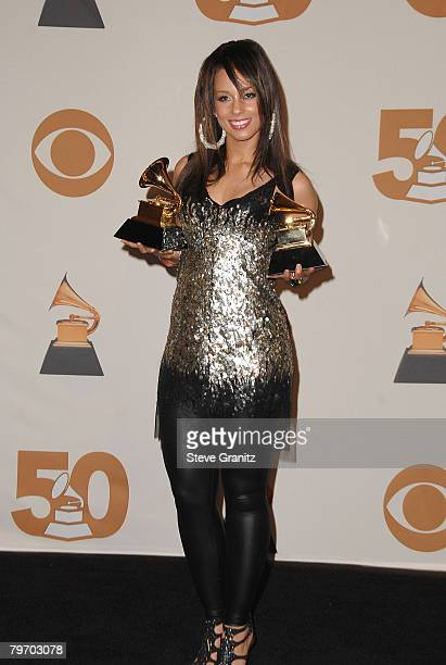 Musician Alicia Keys in the press room at the 50th Annual GRAMMY Awards at the Staples Center on February 10 2008 in Los Angeles California