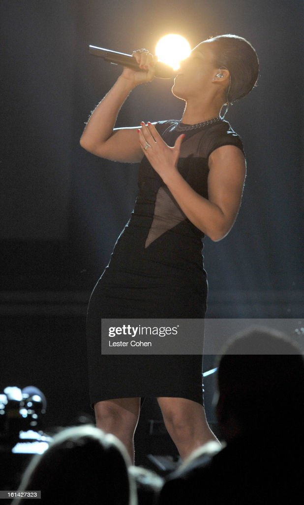 Musician Alicia Keys onstage during the 55th Annual GRAMMY Awards at STAPLES Center on February 10, 2013 in Los Angeles, California.