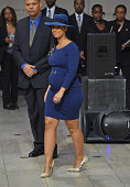 Musician Alicia Keys performs during the Ruby Dee Memorial Service at Assembly Hall of the Riverside Church on September 20 2014 in New York City