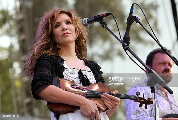Musician Alison Krauss of Alison Krauss Union Station featuring Jerry Douglas perform on stage during Bonnaroo 2011 at Which Stage on June 11 2011 in...