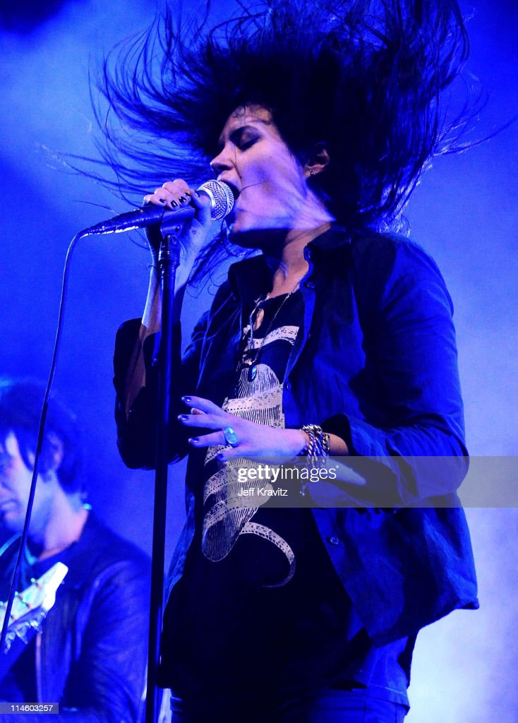 Musician Alison Mosshart of The Dead Weather performs during Day 2 of the Coachella Valley Music & Art Festival 2010 held at the Empire Polo Club on April 17, 2010 in Indio, California.