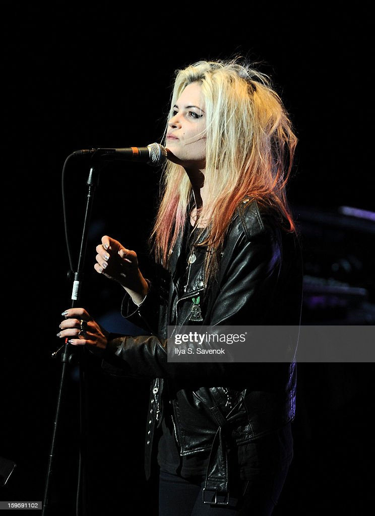 Musician <a gi-track='captionPersonalityLinkClicked' href=/galleries/search?phrase=Alison+Mosshart&family=editorial&specificpeople=226602 ng-click='$event.stopPropagation()'>Alison Mosshart</a> performs on stage during Life Along The Borderline: A Tribute To Nico at BAM on January 16, 2013 in New York City.