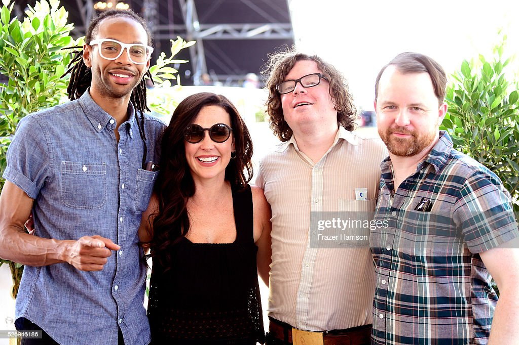 Musician Amanda Shires (C) and band members pose backstage during 2016 Stagecoach California's Country Music Festival at Empire Polo Club on May 01, 2016 in Indio, California.