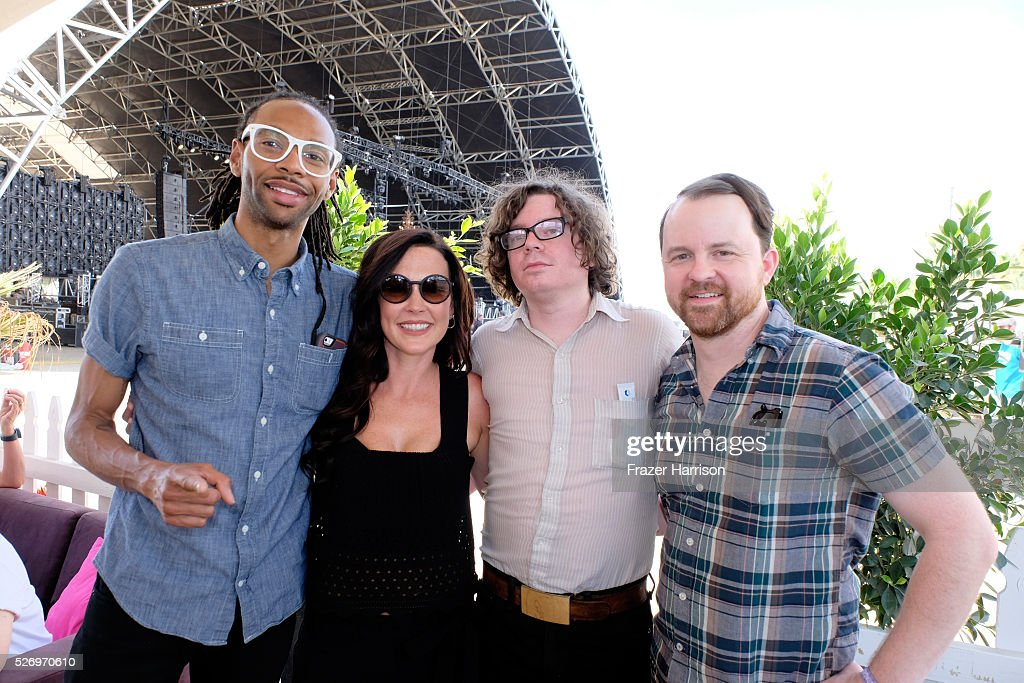 Musician Amanda Shires (2ND L) and her band members pose for a photo during 2016 Stagecoach California's Country Music Festival at Empire Polo Club on May 01, 2016 in Indio, California.