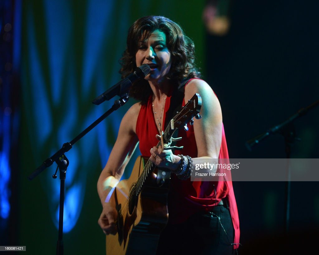 Musician Amy Grant celebrating Yamaha's 125th Anniversary Live Around the World Dealer Concert performs at the Hyperion Theater on January 25 2013 in...