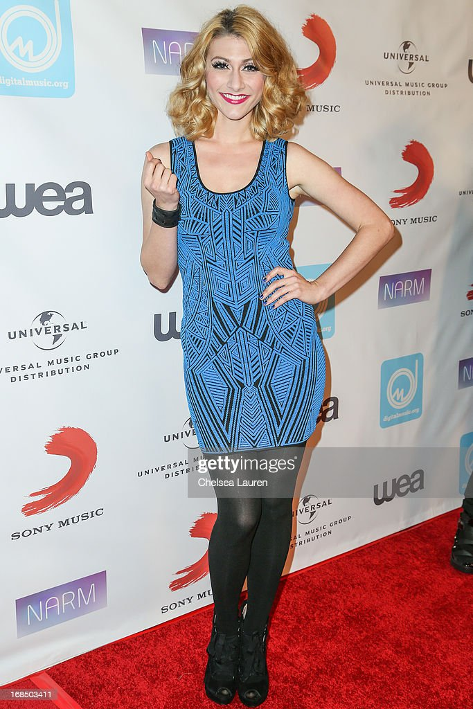 Musician Amy Heidemann of Karmen arrives at the NARM Music Biz Awards dinner party at the Hyatt Regency Century Plaza on May 9, 2013 in Century City, California.