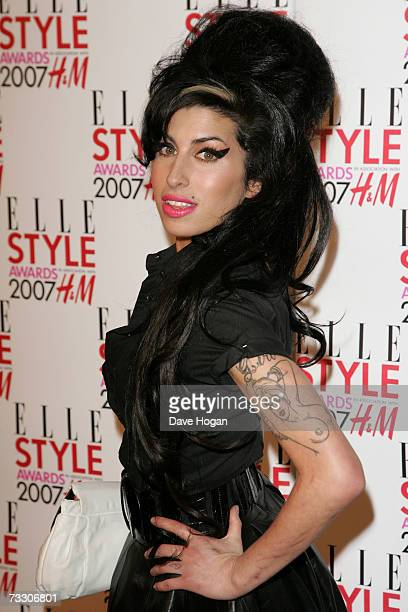 Musician Amy Winehouse arrives at the ELLE Style Awards at the Roundhouse Theatre February 12 2007 in London England