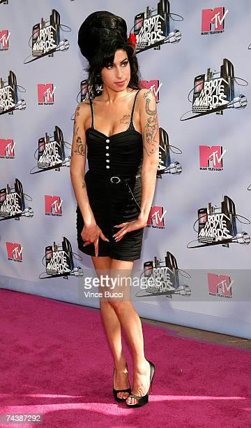 EMBARGO** Musician Amy Winehouse arrives to the 2007 MTV Movie Awards held at the Gibson Amphitheatre on June 3 2007 in Universal City California