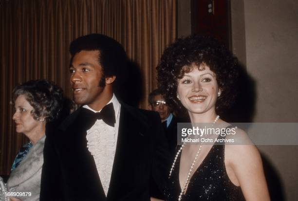 Musician and actor Clifton Davis and actress Victoria Principal attend an event in March 1974 in Los Angeles California