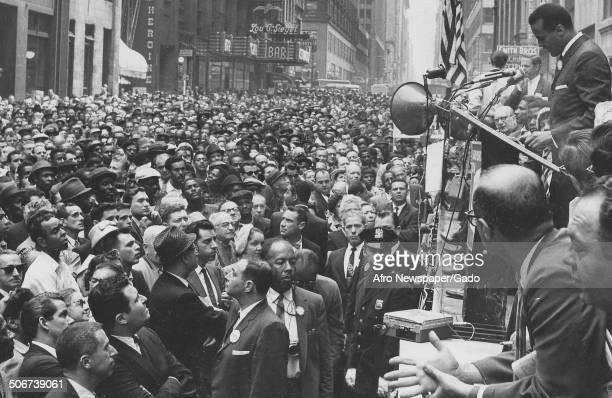 Musician and actor Harry Belafonte addressing a crowd of labor protestors during Civil Rights Day New York City New York May 19 1960