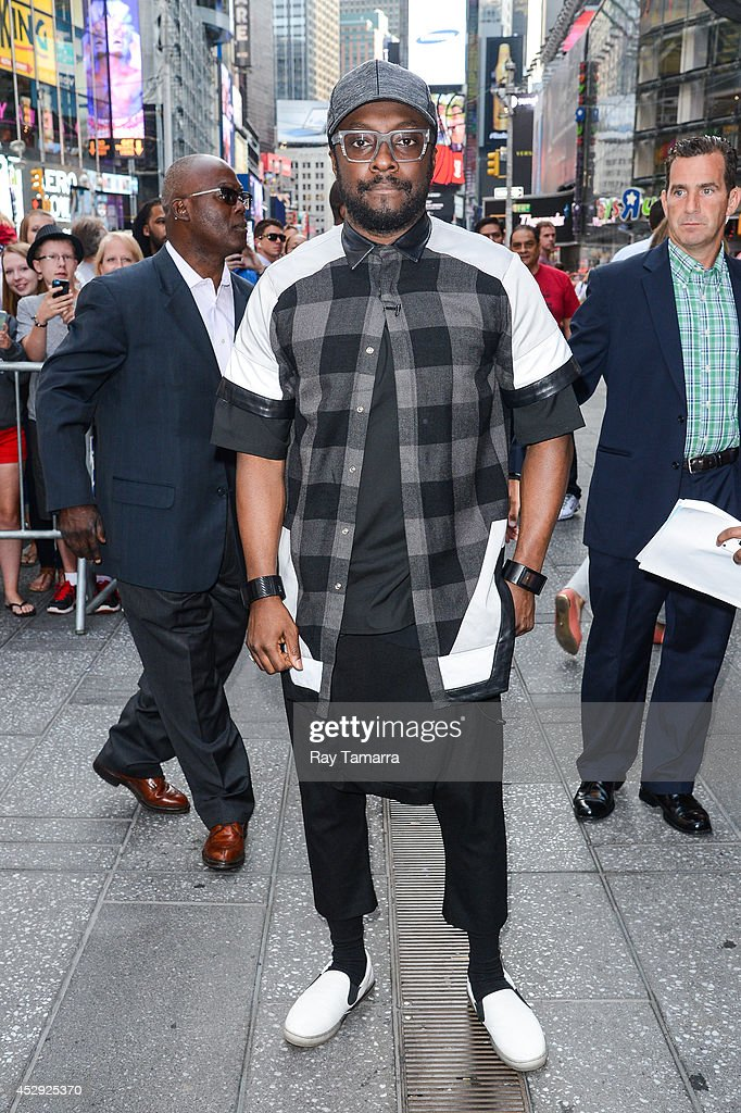 Musician and actor will.i.am enters the 'Good Morning America' taping at the ABC Times Square Studios on July 30, 2014 in New York City.