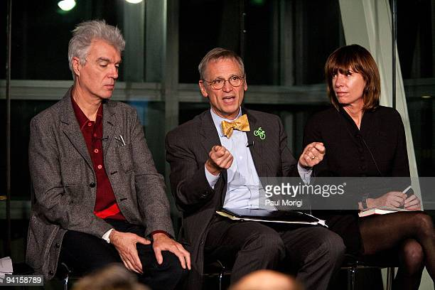 Musician and author David Byrne Rep Earl Blumenauer and Janette SadikKhan Commissioner New York City Department of Transportation participate in the...