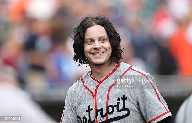Musician and Detroit Native Jack White gets ready to throw out the first pitch prior to the start of the game between the Chicago White Sox and the...