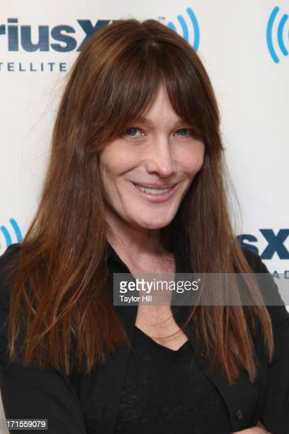 Musician and former First Lady of the French Republic Carla Bruni visits theSiriusXM Studios to perform songs from her album 'Little French Songs' on...