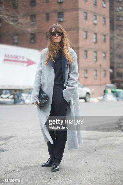Musician and model Caroline de Maigret wears a Lacoste outfit on the Streets of Manhattan on February 14 2015 in New York City