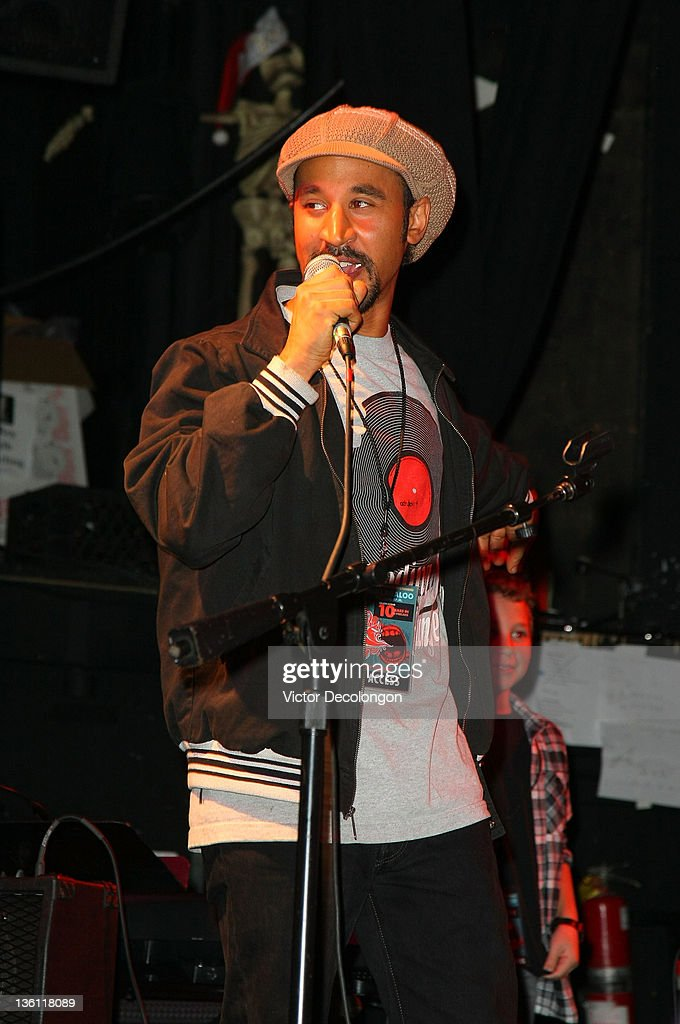 Musician and Music Teacher Marc Rey of the Silverlake Conservatory of Music addresses the audience during the Silverlake Conservatory Of Music's 'Hullabaloo' Benefit Concert at El Rey Theatre on December 22, 2011 in Los Angeles, California.