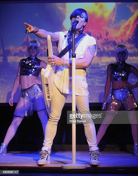 Musician and producer 8bit of the Cary Nokey debut their new single 'B Who U R' during a dance party at The Cutting Room on May 14 2014 in New York...