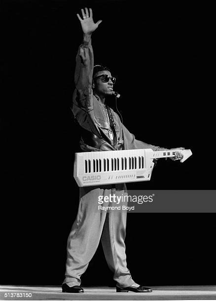 Musician and producer Teddy Riley from Guy performs at the Arie Crown Theater in Chicago Illinois in July 1988