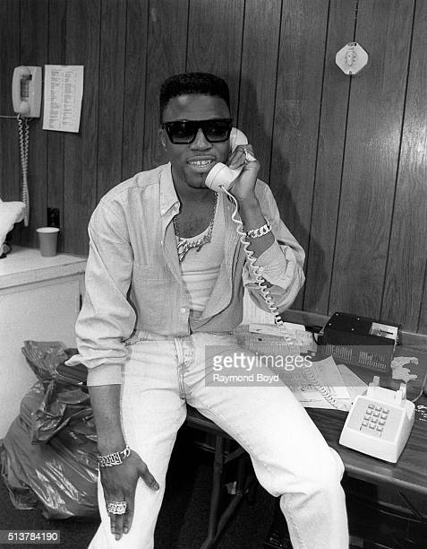Musician and producer Teddy Riley from Guy poses for photos backstage at Market Square Arena in Indianapolis Indiana in April 1989
