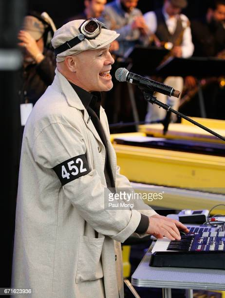 Musician and professor Thomas Dolby performs at the Earth Day March for Science Rally on the National Mall on April 22 2017 in Washington DC