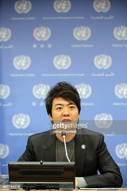 Musician and UN Messenger for Peace Lang Lang speaks at a press conference in advance of the United Nations Concert in honor of United Nations Day at...