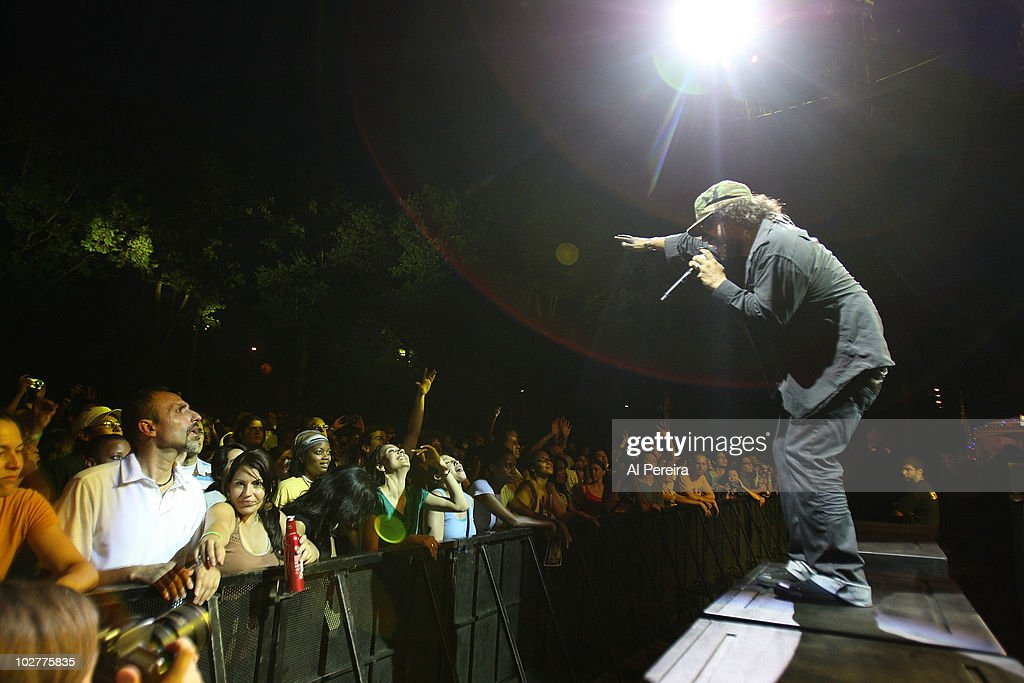 Musician and vocalist Asdru SIerra and his band Ozomalti perform during the 32nd Celebrate Brooklyn Summer Season at Prospect Park Bandshell on July...