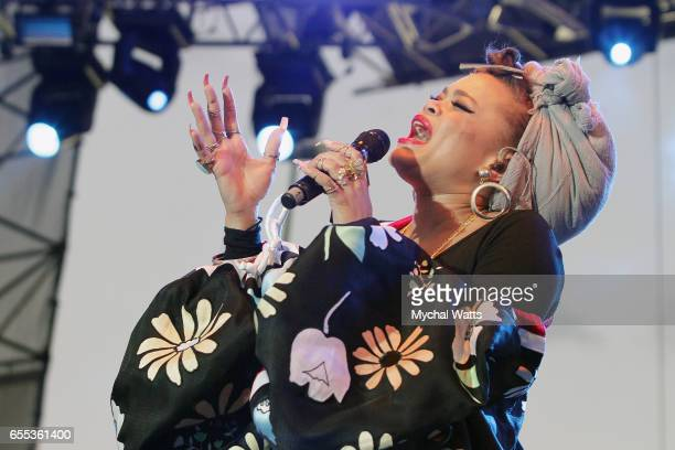 Musician Andra Day performs on stage at The 12th Annual Jazz In The Gardens Music Festival Day 2 at Hard Rock Stadium on March 19 2017 in Miami...