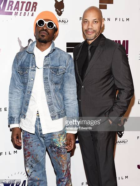 Musician Andre 3000 Benjamin and writer/director John Ridley arrive at the Los Angeles premiere of 'Jimi All Is By My Side' at the ArcLight Cinemas...