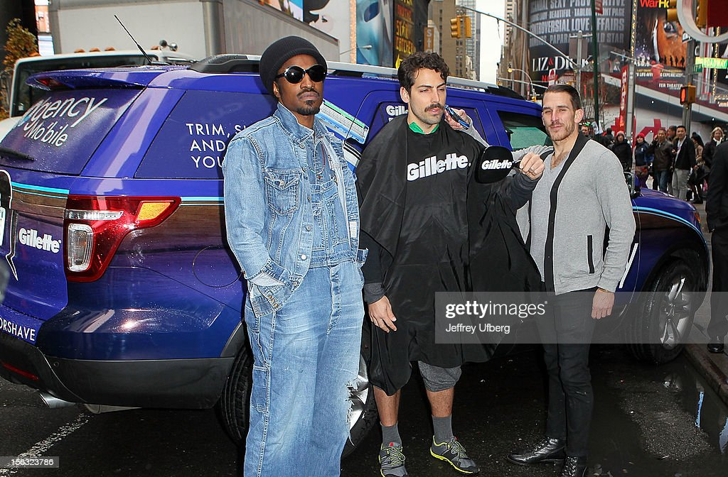 Musician Andre 3000 (L) joins Gillette in support of Movember on November 13, 2012 in New York City.