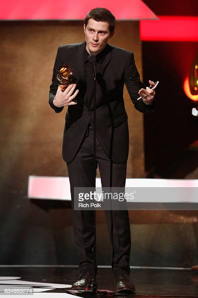Musician Andre Allen Anjos of RAC accepts the Best Remixed Recording NonClassical award for 'Tearing Me Up' onstage at the Premiere Ceremony during...