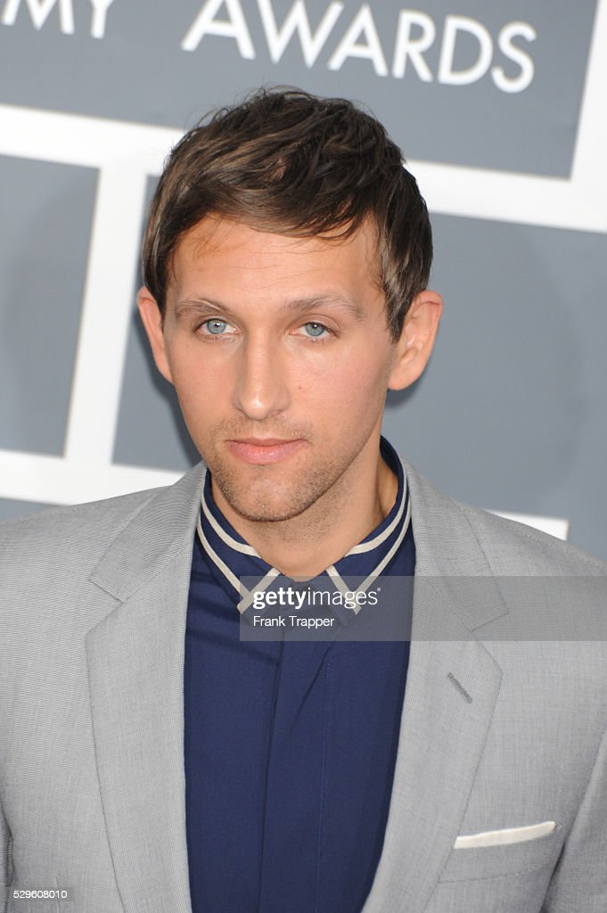 Musician Andrew Dost from the band '<a gi-track='captionPersonalityLinkClicked' href=/galleries/search?phrase=Fun+-+Band&family=editorial&specificpeople=5352698 ng-click='$event.stopPropagation()'>Fun</a> arrives at the 55th Annual Grammy Awards held at the Staples Center in Los Angeles.