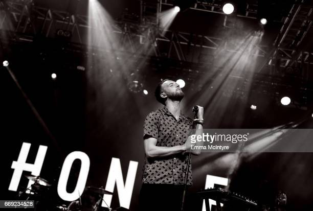 Musician Andrew Peter Clutterbuck of Honne performs on the Mojave stage during day 3 of the Coachella Valley Music And Arts Festival at the Empire...