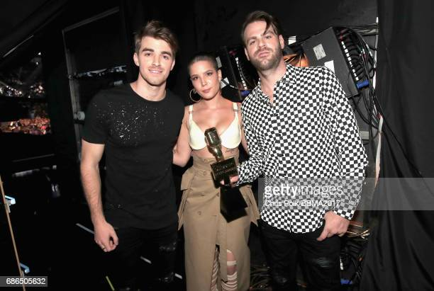Musician Andrew Taggart singer Halsey and Alex Pall of The Chainsmokers attend the 2017 Billboard Music Awards at TMobile Arena on May 21 2017 in Las...