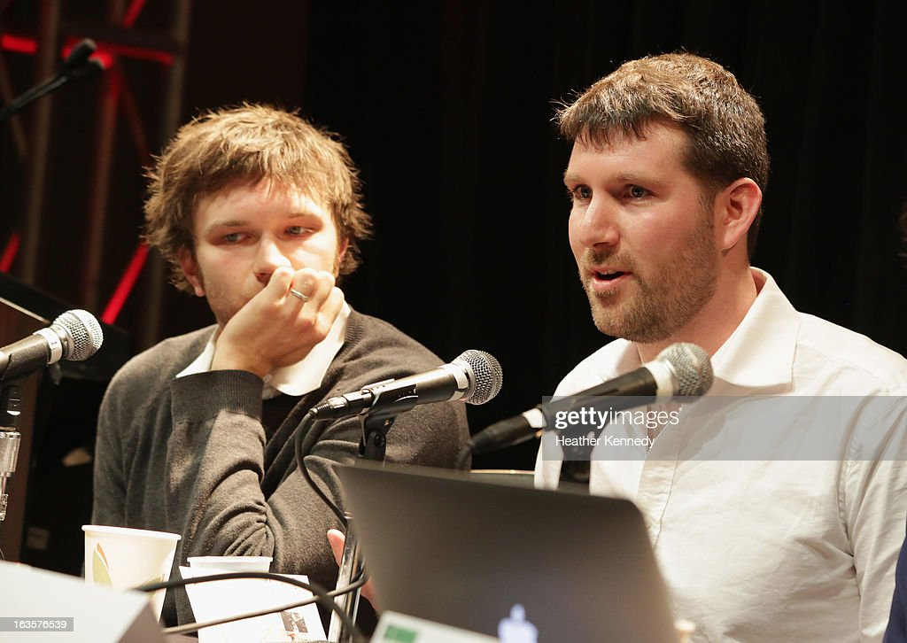 Musician <a gi-track='captionPersonalityLinkClicked' href=/galleries/search?phrase=Andy+Ross&family=editorial&specificpeople=586231 ng-click='$event.stopPropagation()'>Andy Ross</a> of OK Go and Eli Pariser, chief executive of Upworthy speak onstage Activists, Rockstars & Startups: Building Movements during the 2013 SXSW Music, Film + Interactive Festival at Austin Convention Center on March 12, 2013 in Austin, Texas.