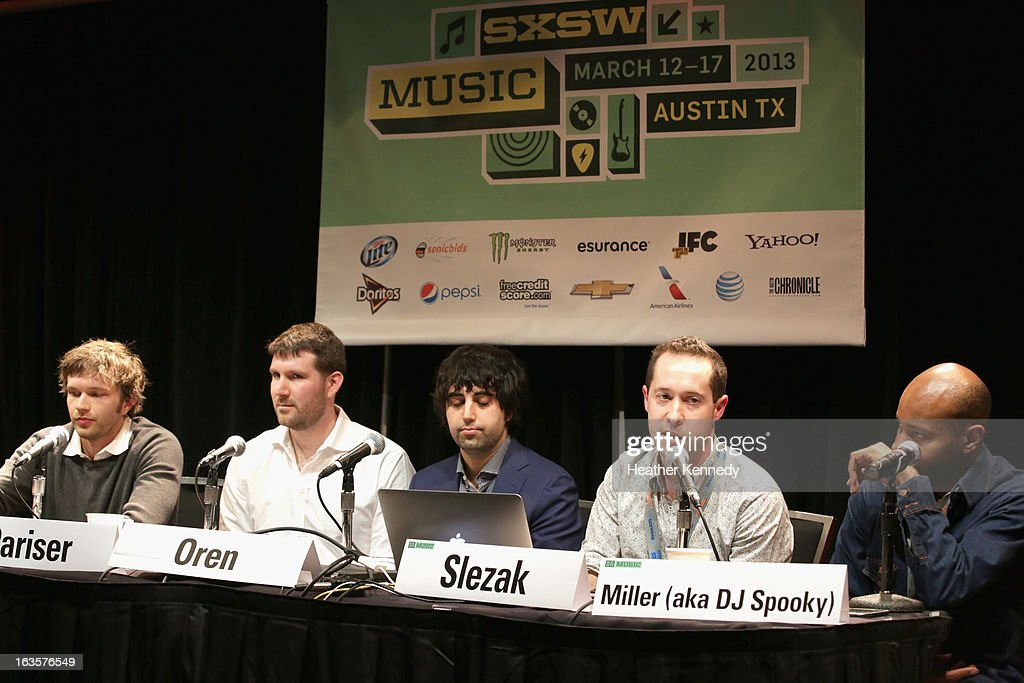 Musician Andy Ross of OK Go, Eli Pariser, chief executive of Upworthy, Eytan Oren, James Slezak and Paul D. Miller aka DJ Spooky speak onstage Activists, Rockstars & Startups: Building Movements during the 2013 SXSW Music, Film + Interactive Festival at Austin Convention Center on March 12, 2013 in Austin, Texas.