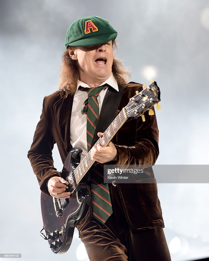 Musician Angus Young of AC/DC performs at Dodger Stadium on September 28, 2015 in Los Angeles, California.