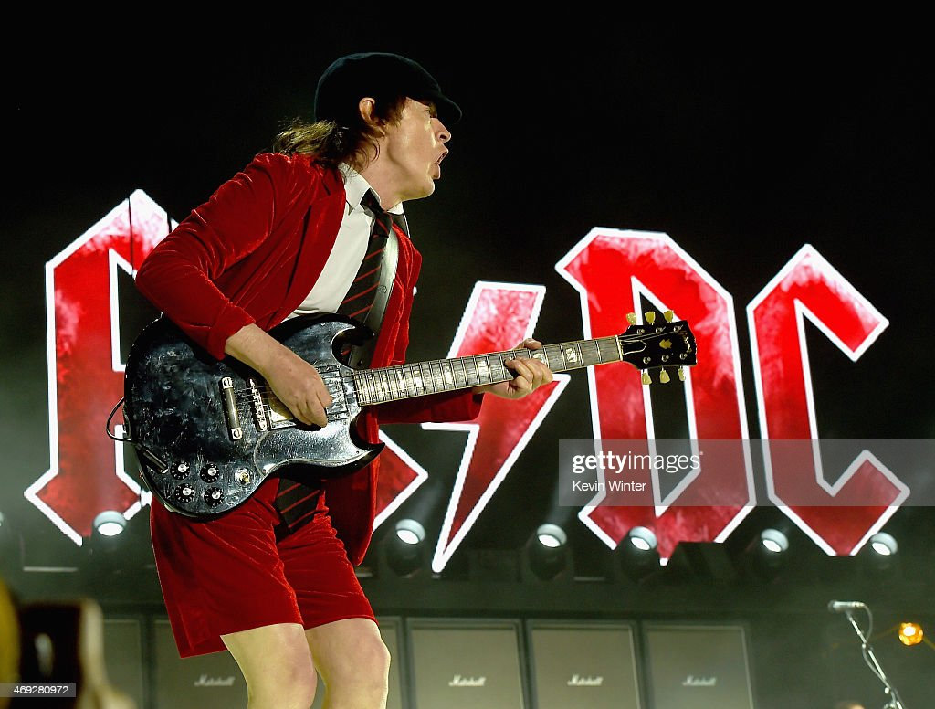 Musician Angus Young of AC/DC performs onstage during day 1 of the 2015 Coachella Valley Music & Arts Festival (Weekend 1) at the Empire Polo Club on April 10, 2015 in Indio, California.