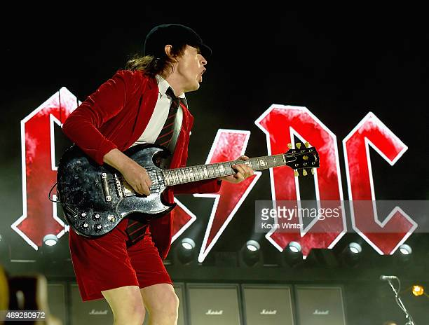 Musician Angus Young of AC/DC performs onstage during day 1 of the 2015 Coachella Valley Music Arts Festival at the Empire Polo Club on April 10 2015...