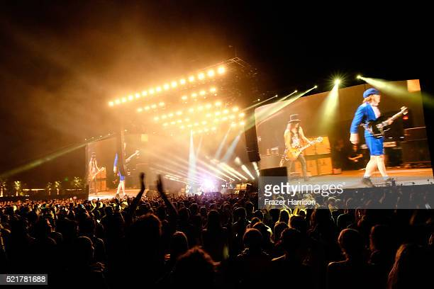 Musician Angus Young of AC/DC performs onstage with Guns N' Roses during day 2 of the 2016 Coachella Valley Music Arts Festival Weekend 1 at the...