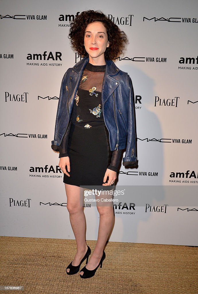 Musician Annie Clark, also known as St. Vincent, attends the amfAR Inspiration Miami Beach Party at Soho Beach House on December 6, 2012 in Miami Beach, Florida.