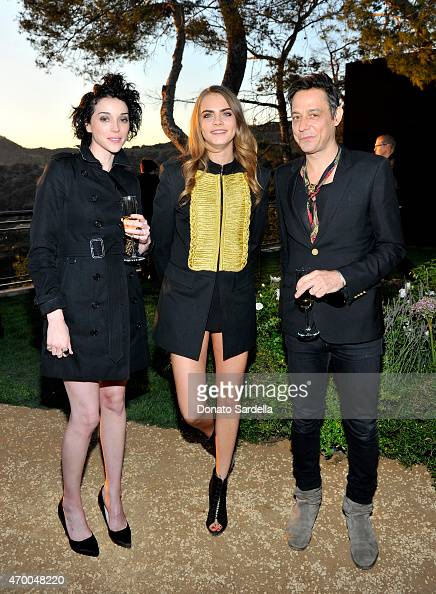 Musician Annie Clark model Cara Delevingne and musician Jamie Hince of The Kills attend the Burberry 'London in Los Angeles' event at Griffith...