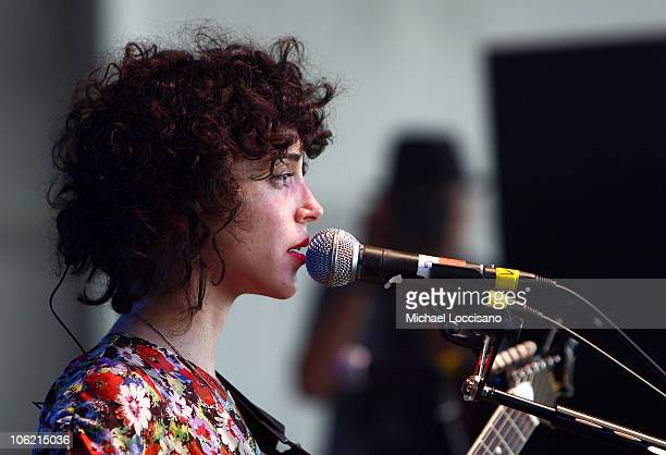 Musician Annie Clark of St Vincent performs on stage during Bonnaroo 2009 on June 12 2009 in Manchester Tennessee