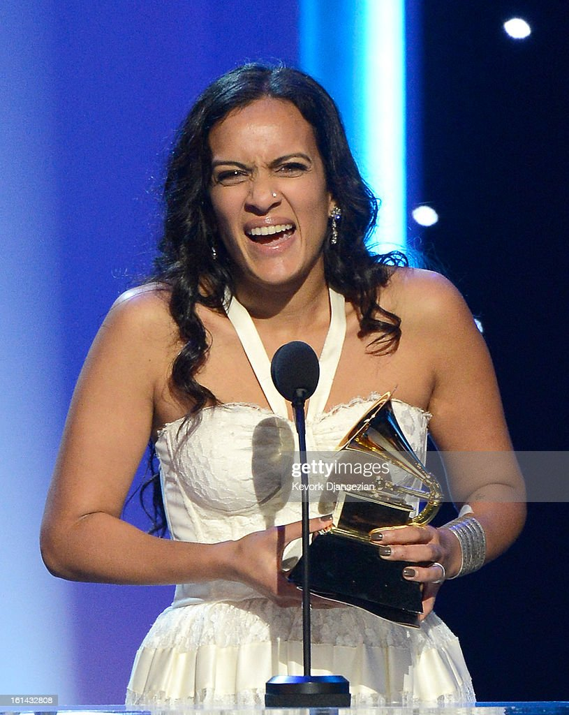 Musician Anoushka Shankar accepts Best World Music Album for 'The Living Room Sessions Part 1' on behalf of her father, the late Ravi Shankar, onstage at the The 55th Annual GRAMMY Awards at Nokia Theatre on February 10, 2013 in Los Angeles, California.